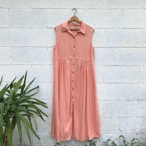 Vintage Linen Button Down Maxi Dress